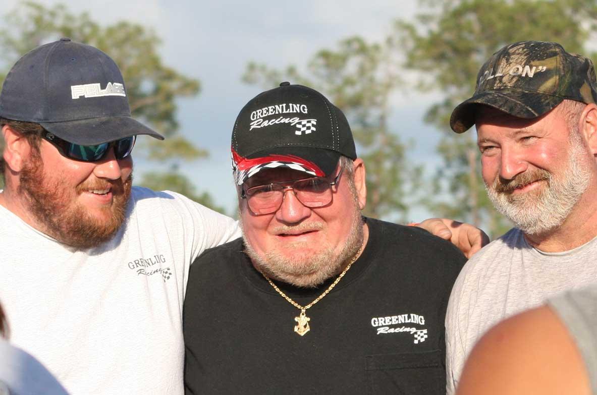 Dan Greenling Jr., George Greenling and Dan Greenling Sr. at Swampbuggy Races in Naples Florida | Greenling Roofing, Inc. Greenling Racing Team
