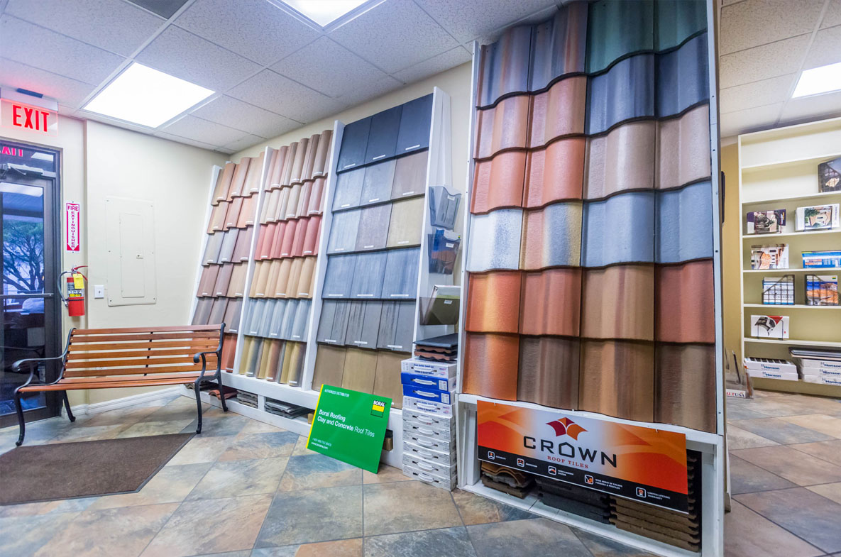 Interior of Greenling Roofing's Naples Roofing Showroom located at 1954 J & C Blvd. Naples, FL 34109 | Naples Roofing Contractors