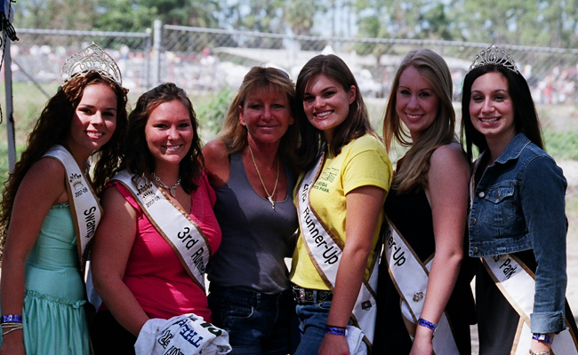 Ladonna Greenling with Swampbuggy Queens Court at the Naples Swampbuggy Races