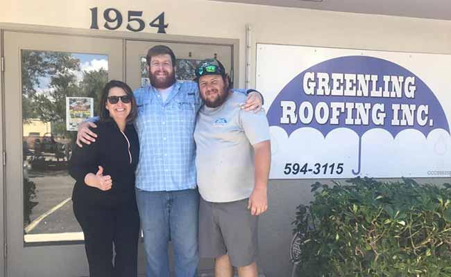 TIffany Greenling and Dan Jr. at Greenling Roofing's Naples Florida Showroom